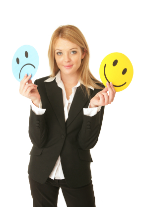 Woman Holding Happy Face, Sad Face