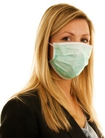 woman with H1N1 medical mask