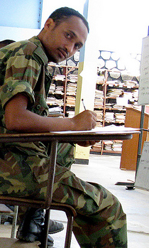Soldier In A Classroom