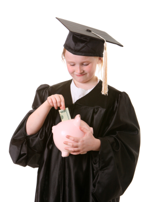 Grad With Piggy Bank