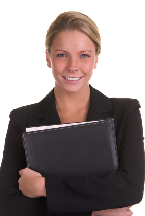 Woman Holding Binder