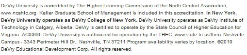 DeVry University accreditation and disclaimer information